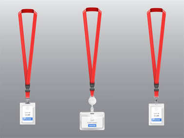 Vector set of ID cards, badges with red lanyards