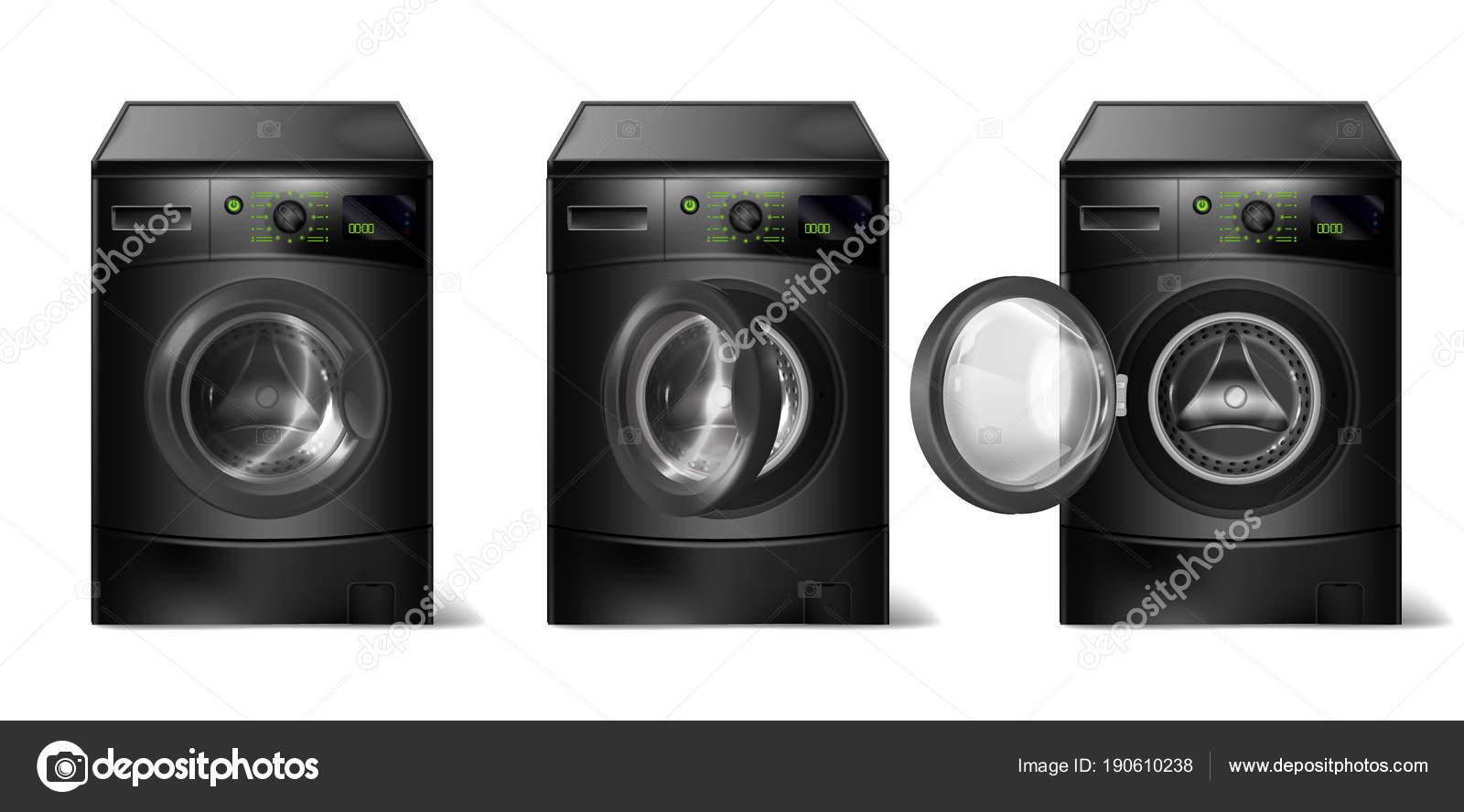 Vektor set realistisch schwarz waschmaschinen kompakte