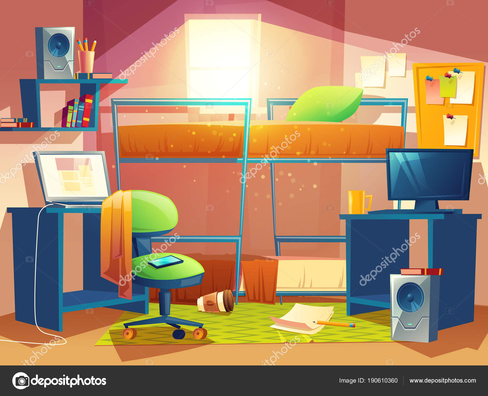 Ilustra o vetor dos desenhos animados pequeno dormit rio for Dormitorio animado