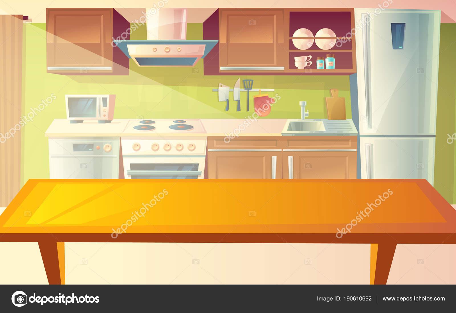 Ilustración Dibujos Animados Vector Acogedora Cocina Con