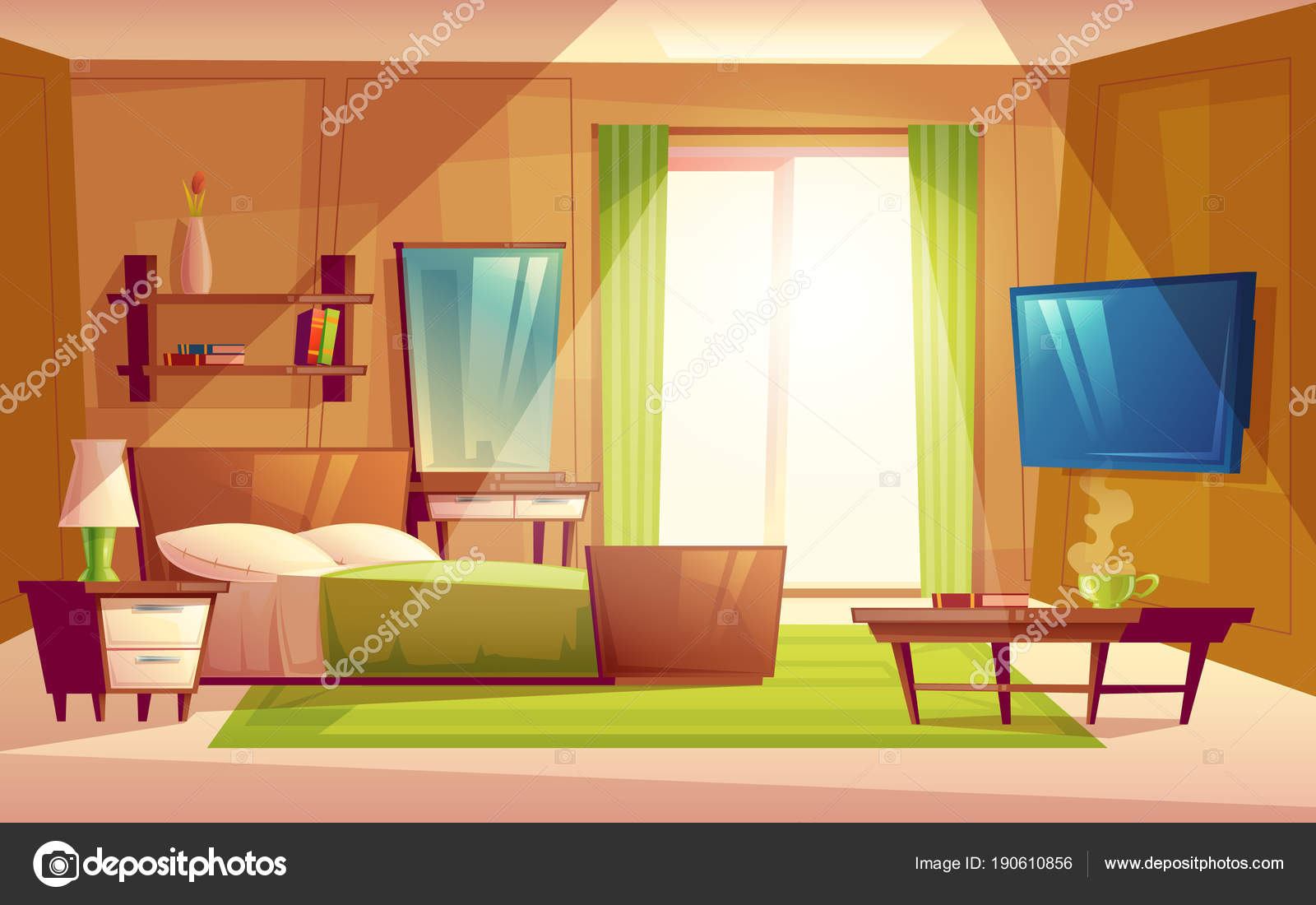 Slaapkamer In Woonkamer : Vector cartoon interieur van gezellige moderne slaapkamer