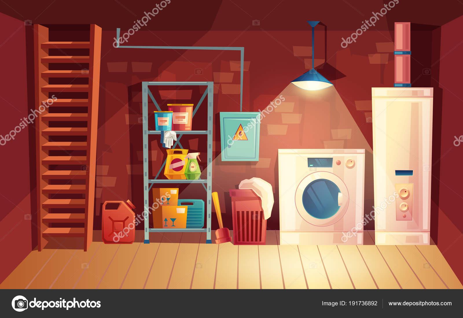 Interior de bodega de Vector, dibujos animados de lavandería en el ...