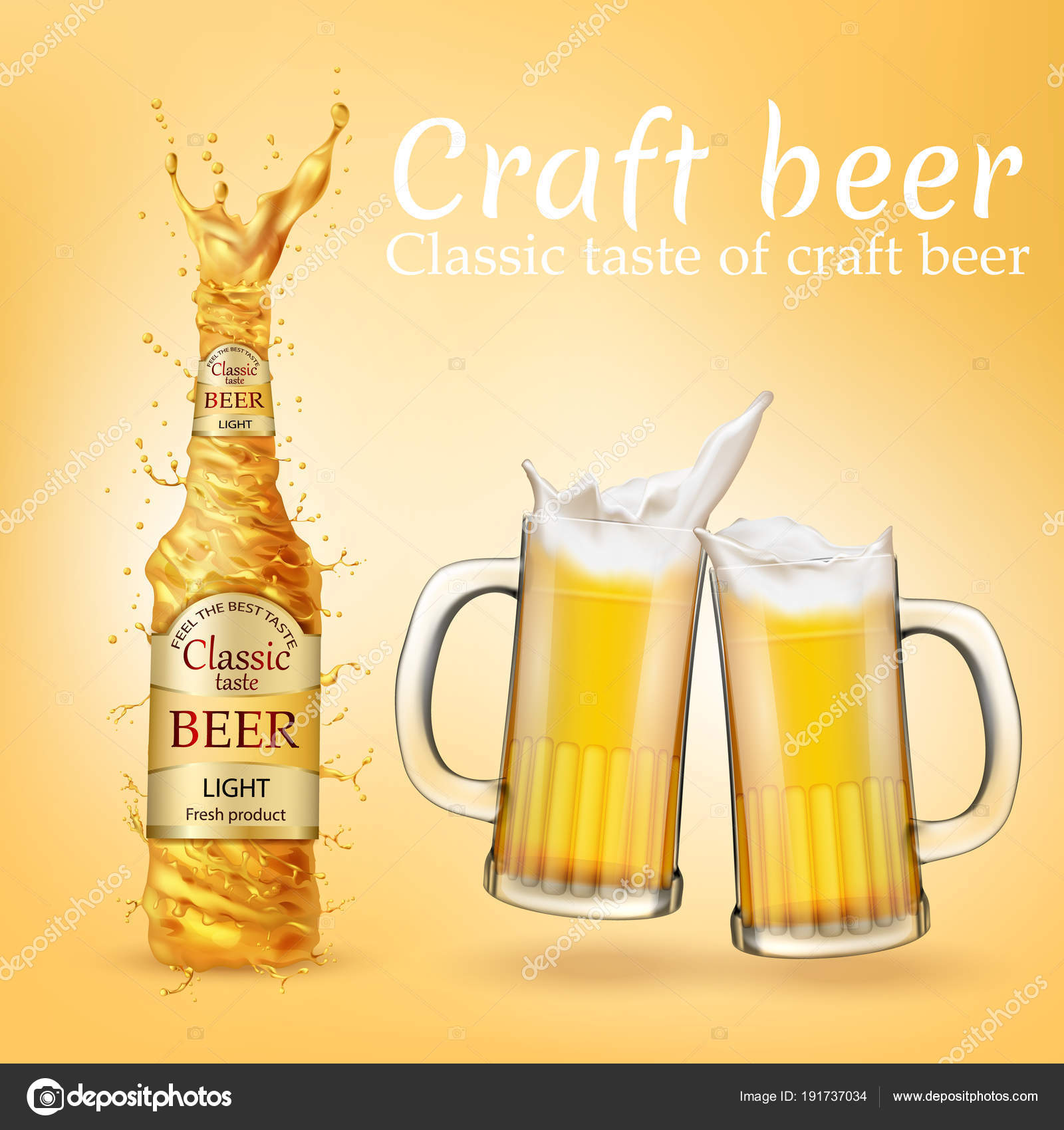 Vector Realistic Craft Beer Poster Advertising Banner Stock