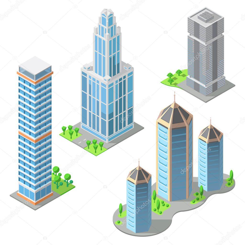 Dibujos: edificios modernos | Vector isométricos edificios ...