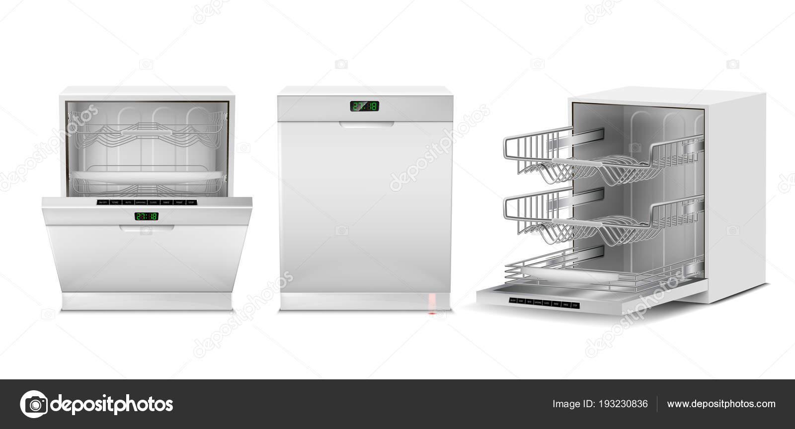 Vector 3d realistico bianco lavastoviglie con display — Vettoriali ...