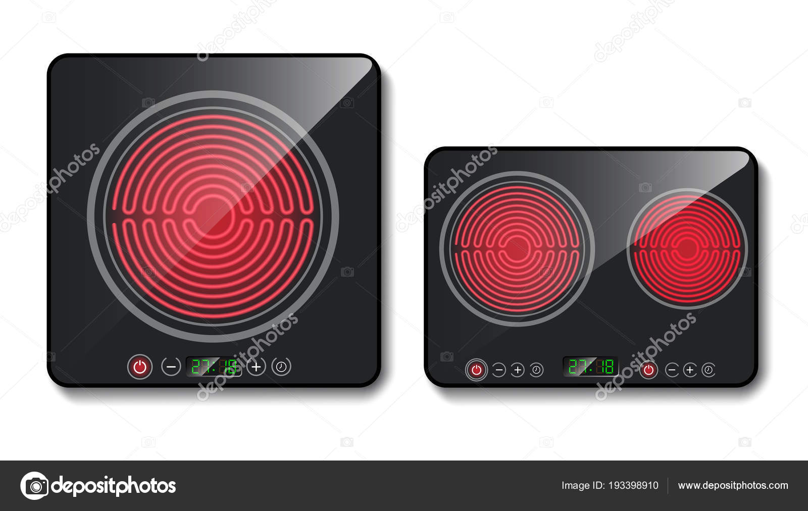 Vector 3d placa de inducción negro realista — Vector de stock ...