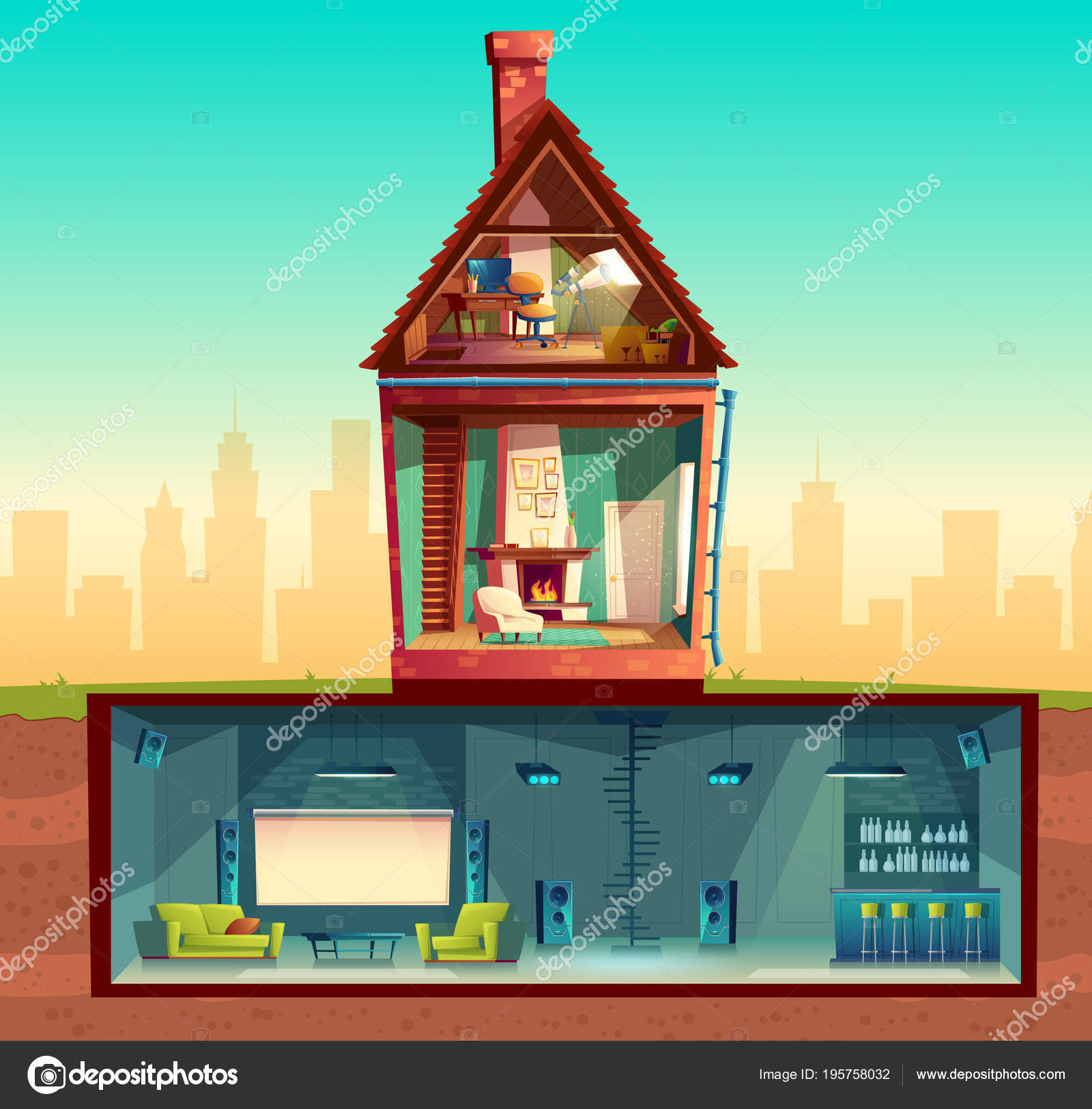Vektor-Haus im Querschnitt, Keller, Dachboden — Stockvektor ...