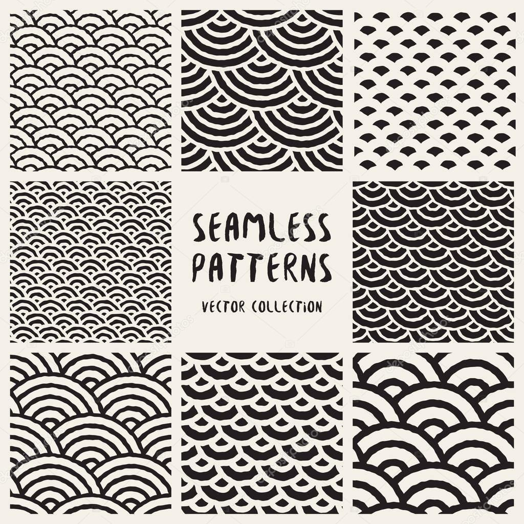 satz von acht nahtlose schwarz wei hand gezeichnet runden linien geometrische muster kollektion. Black Bedroom Furniture Sets. Home Design Ideas