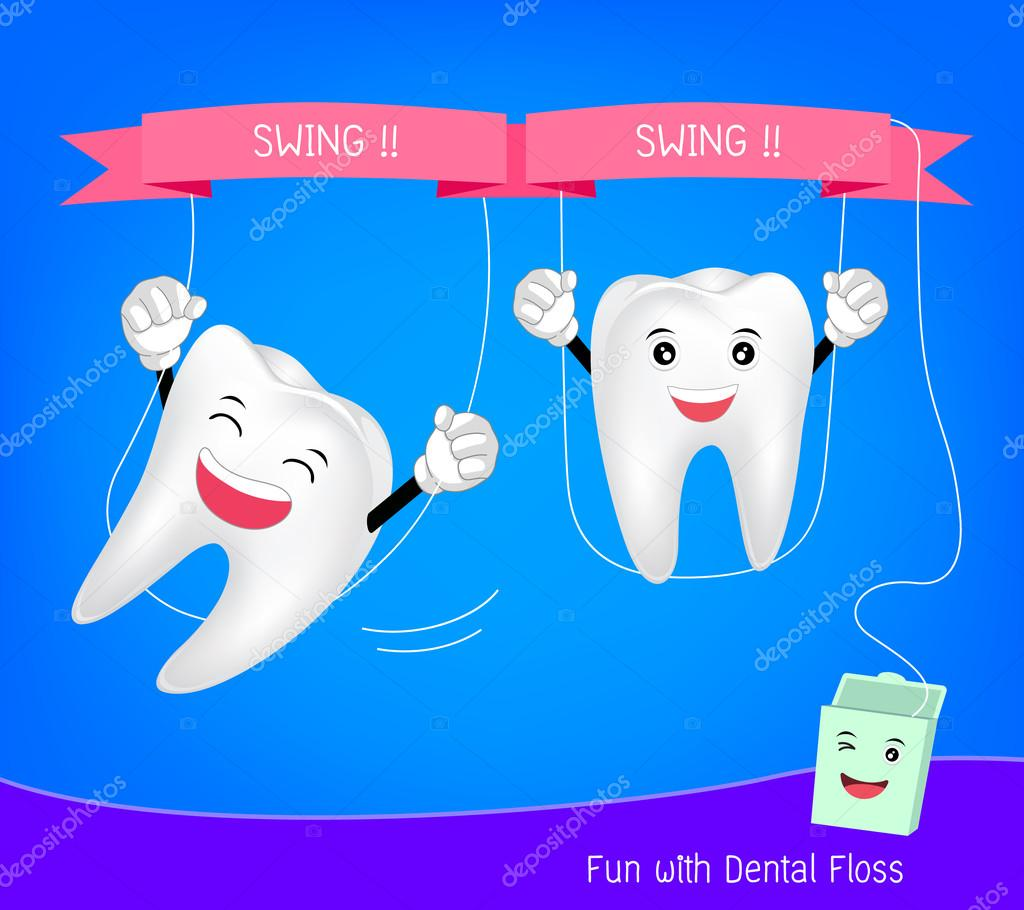 5e1097e2b Dentes bonitos dos desenhos animados com fio dental — Vetores de Stock