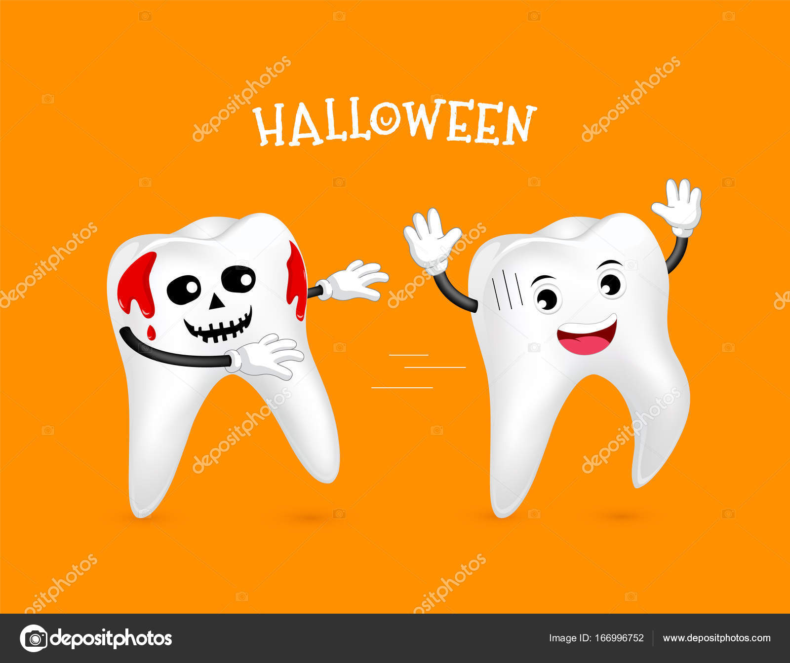 歯の面白いかわいい漫画のキャラクター血と歯 ストックベクター