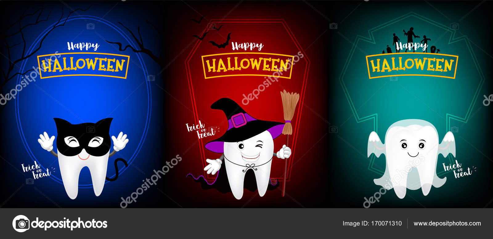 Cute Scary Tooth Character Design Of Black Cat, Witch And Ghost. U2014 Stock  Vector · Happy Halloween Day.