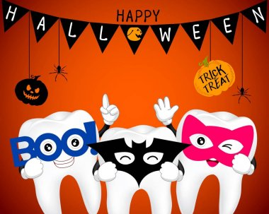 Tooth character with mask of boo, bat and cat.