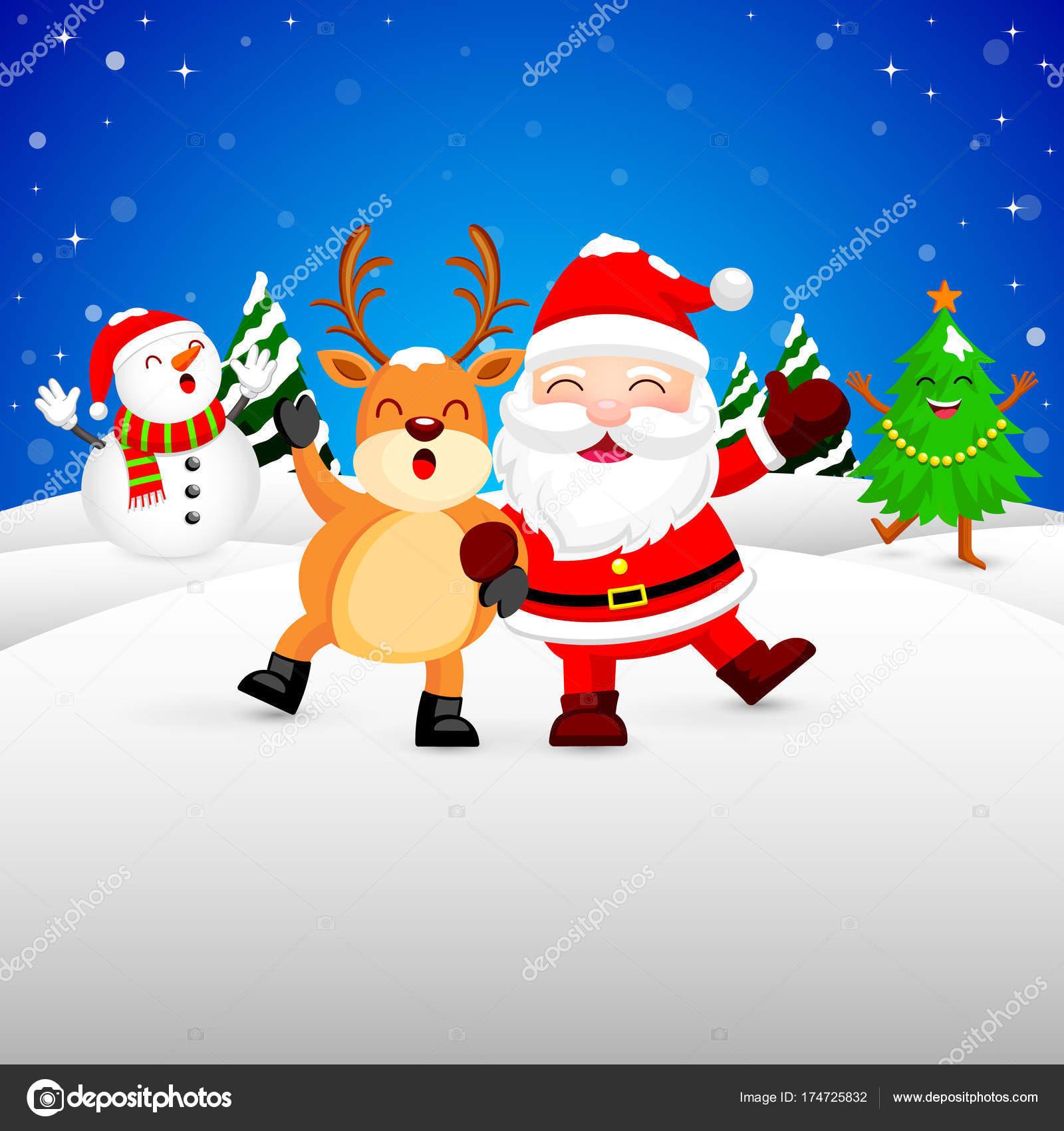 Funny Christmas.Funny Christmas Characters Design On Snow Santa Claus