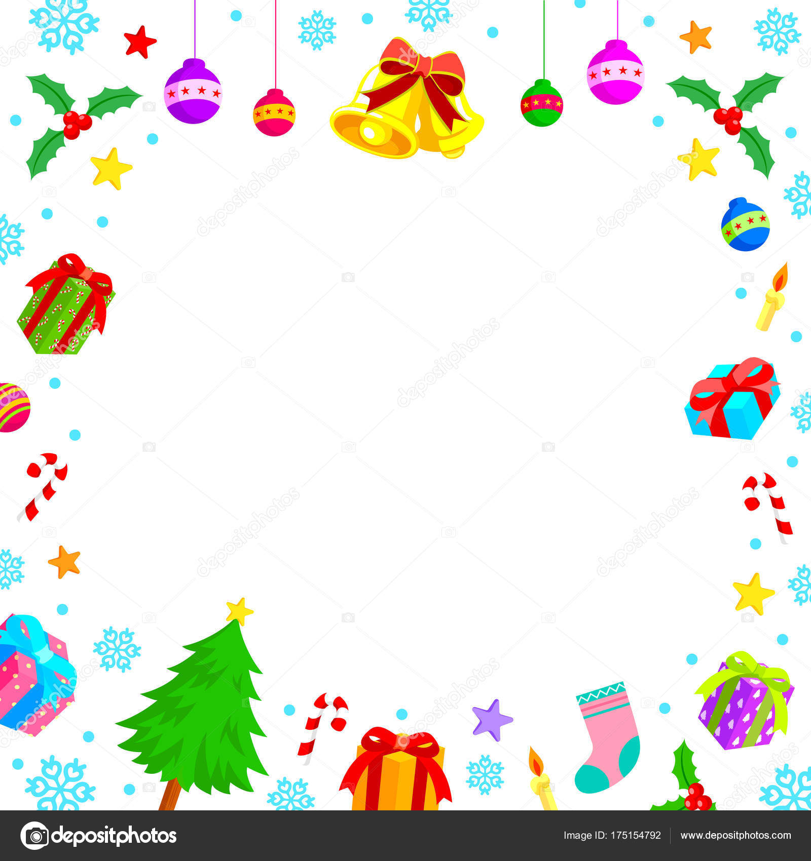 christmas characters frame christmas elements merry christmas happy new year stock vector
