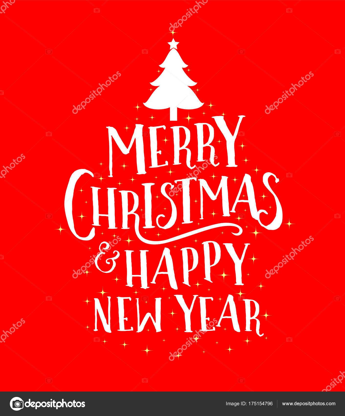 Frohe Weihnachten Und Happy New Year.Frohe Weihnachten Und Happy New Year Schriftzug Design Für Grußkarte