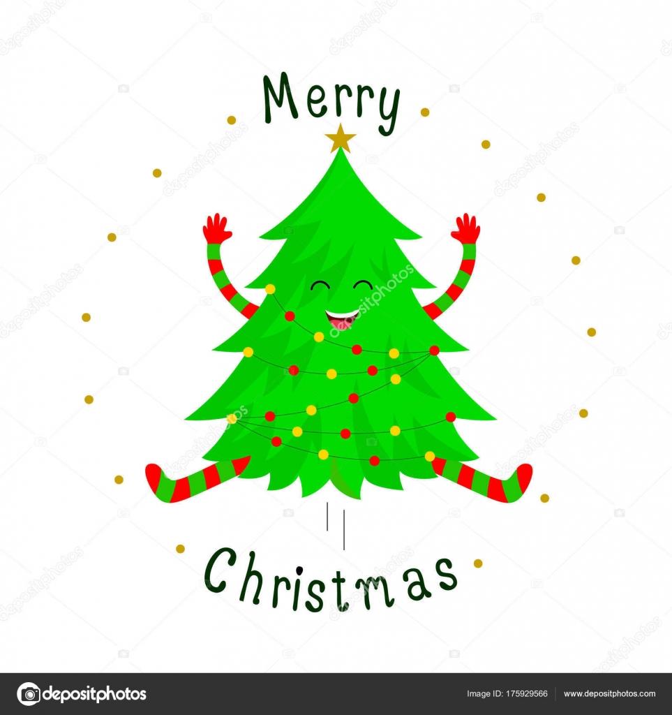 Cute Christmas Tree Cartoon Characters Smiley Face Merry Christmas ...