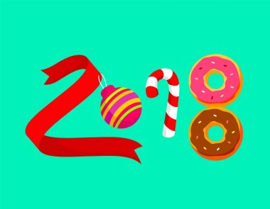 Happy New Year of twenty eighteen. Colorful numbers design of ribbon, Christmas ball, candy and donut. Illustration for celebration  isolated on green background.