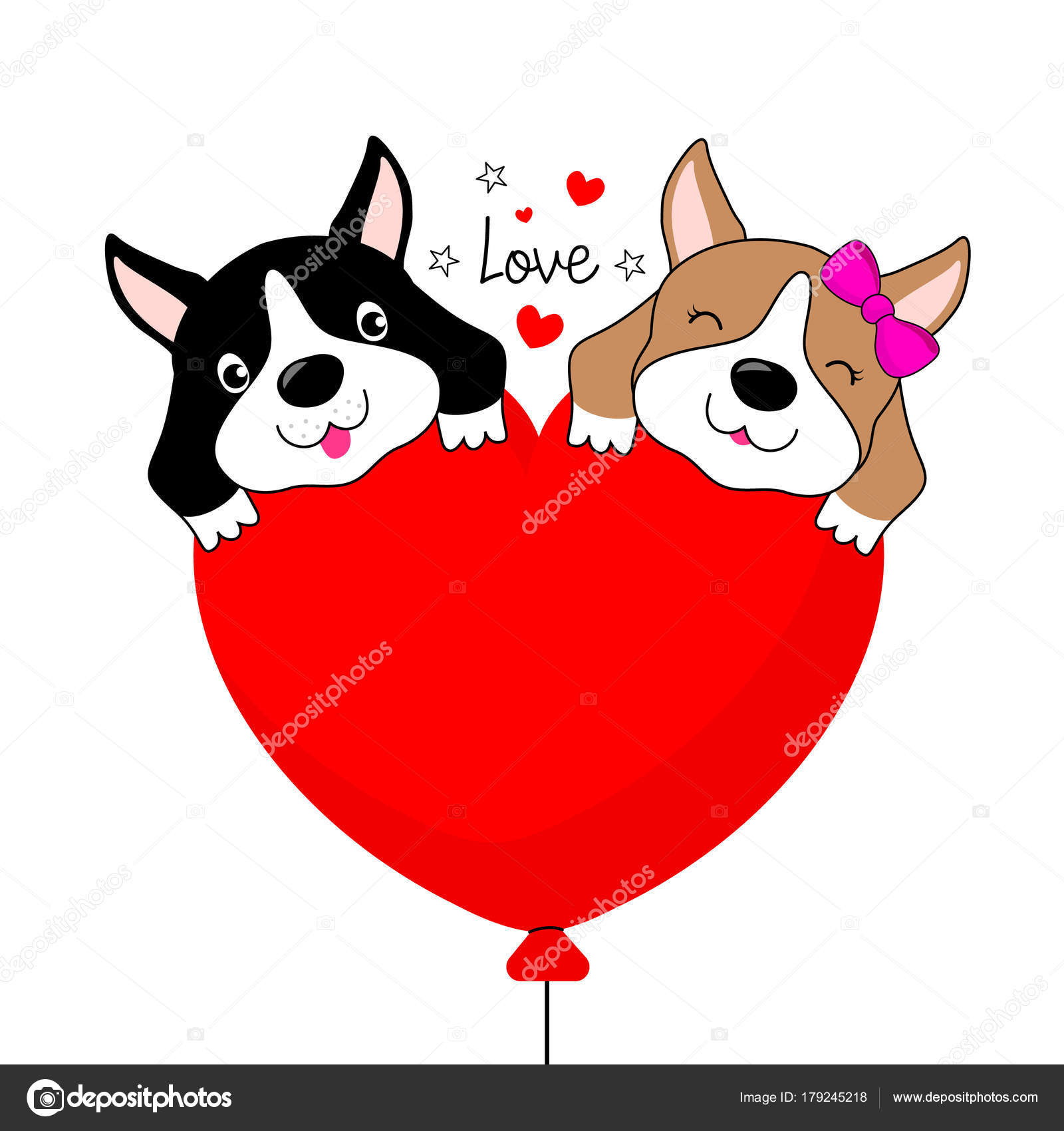 funny cartoon dogs characters two dogs love heart shape balloon