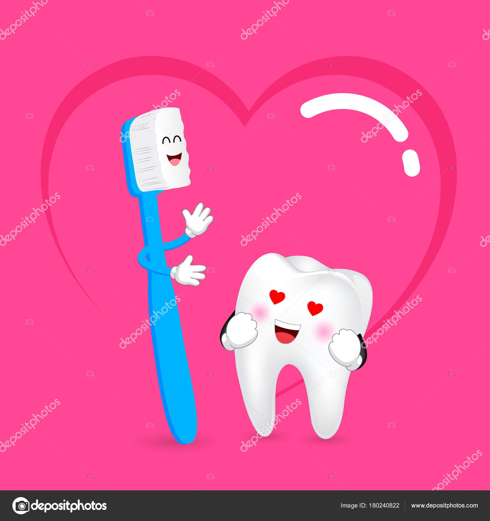 Cute Cartoon Toothbrush Tooth Love Dental Care Concept Happy