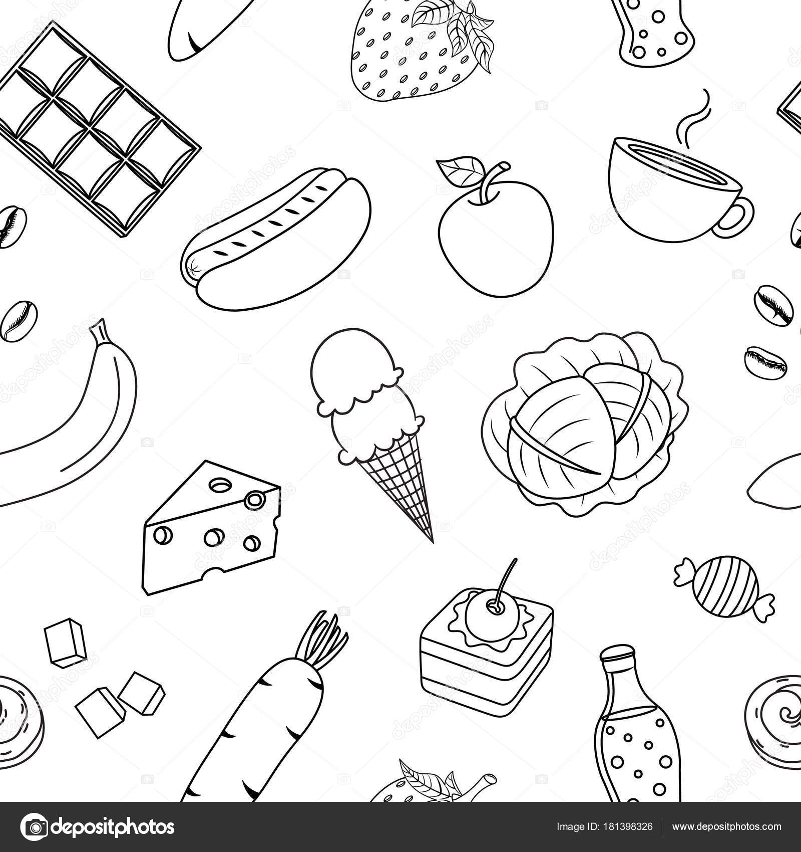 Cute Cartoon Outline Food Seamless Pattern Hand Draw Style Vector Stock