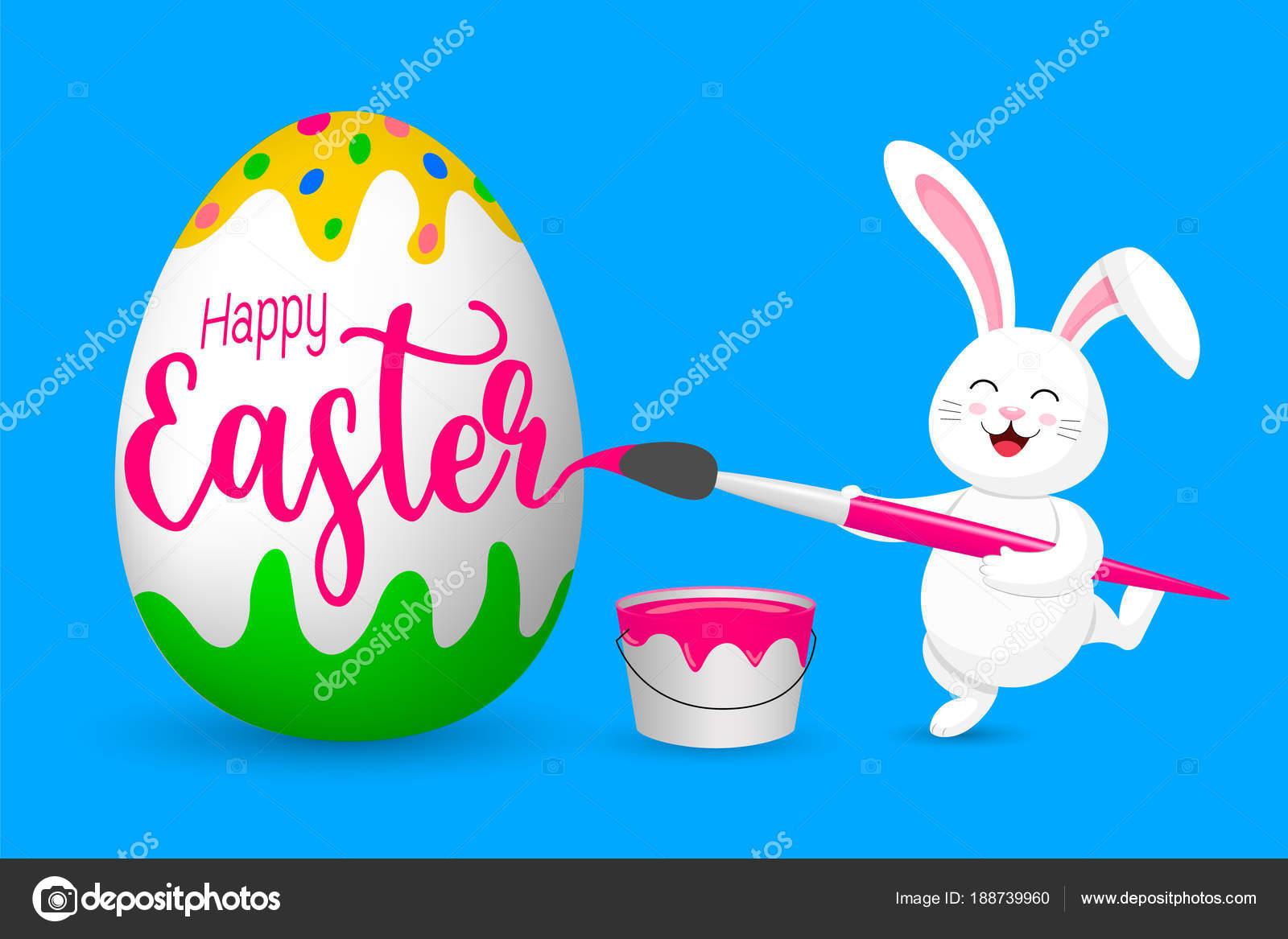 Conejo Blanco Pintando Huevos Pascua Lindo Conejito Diseño ...