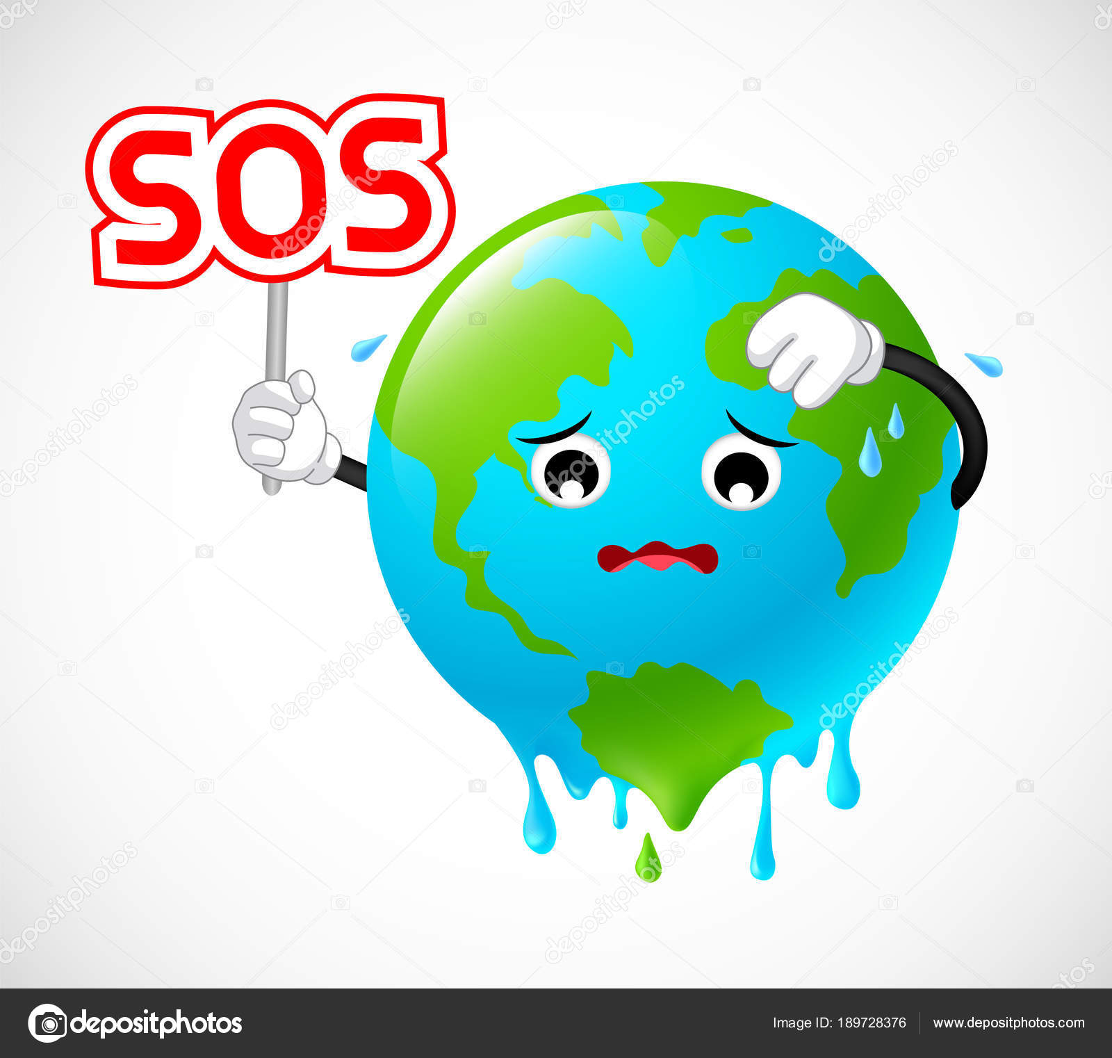stop global warming planet earth character holding sos sign
