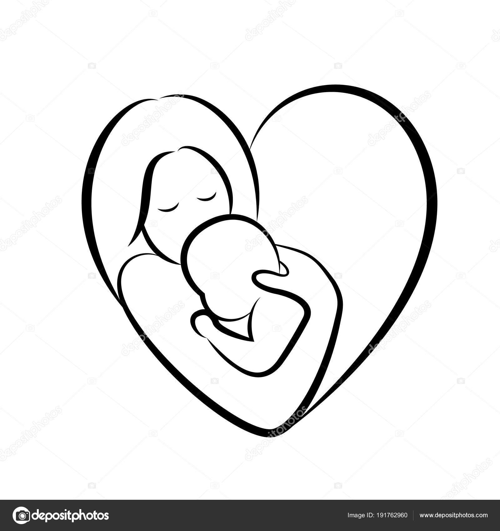 Madre Bambino Stilizzato Simbolo Vettoriale Forma Cuore Mamma