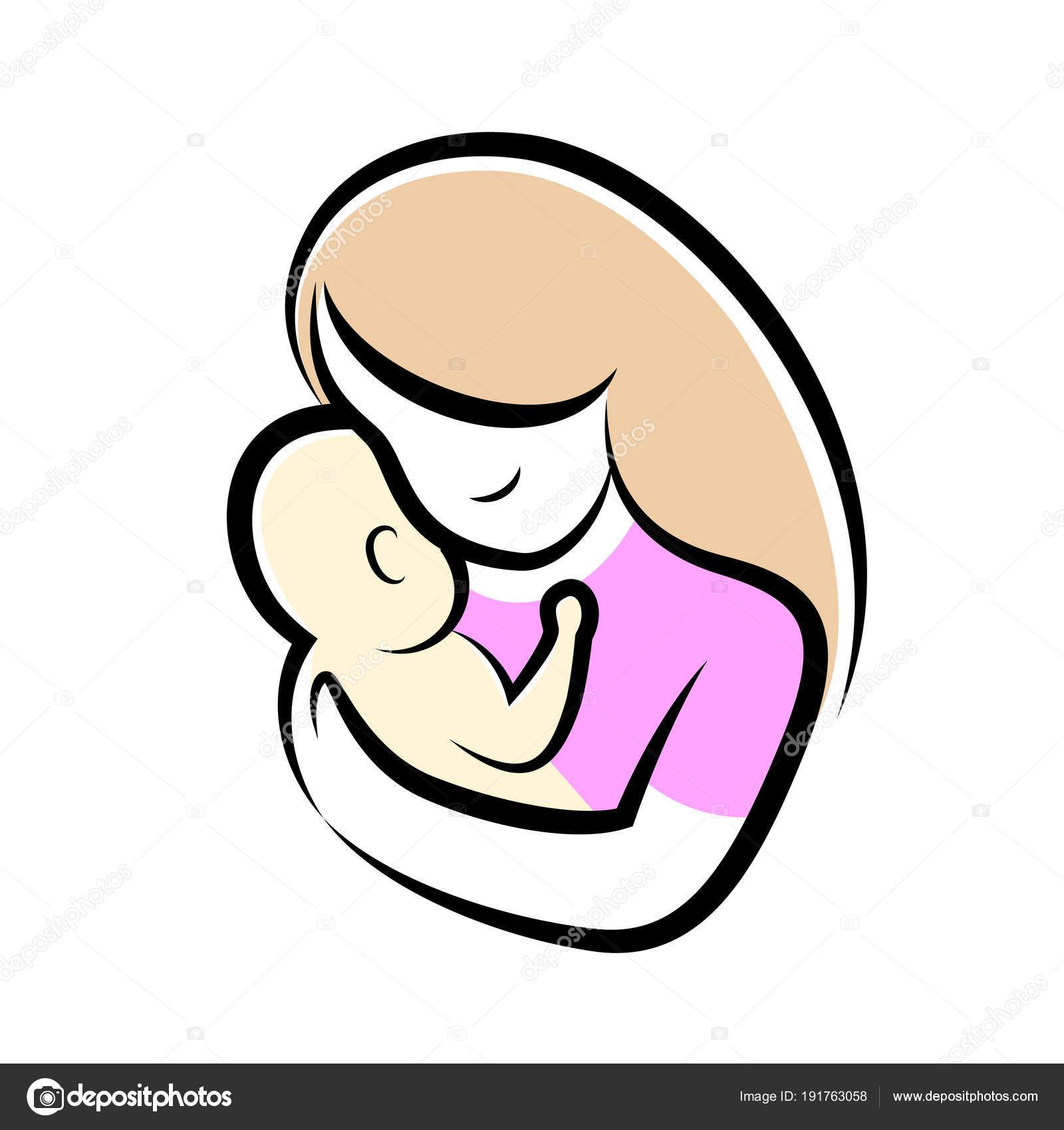 Illustrazione Disegno Neonato Stilizzato Madre Bambino