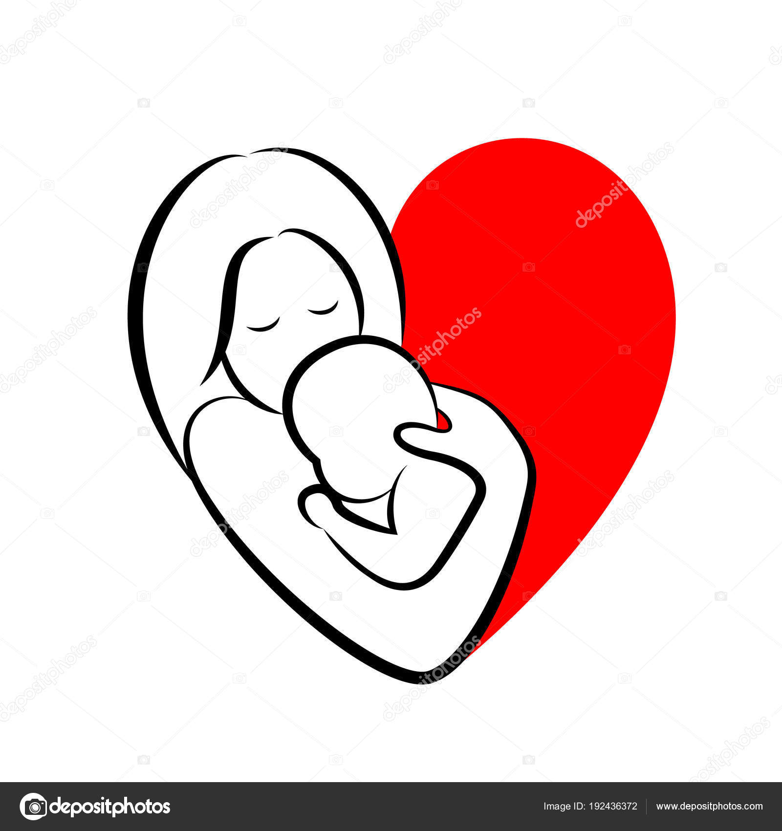 Mother Baby Stylized Vector Symbol Heart Shape Mom Hugs Her Stock