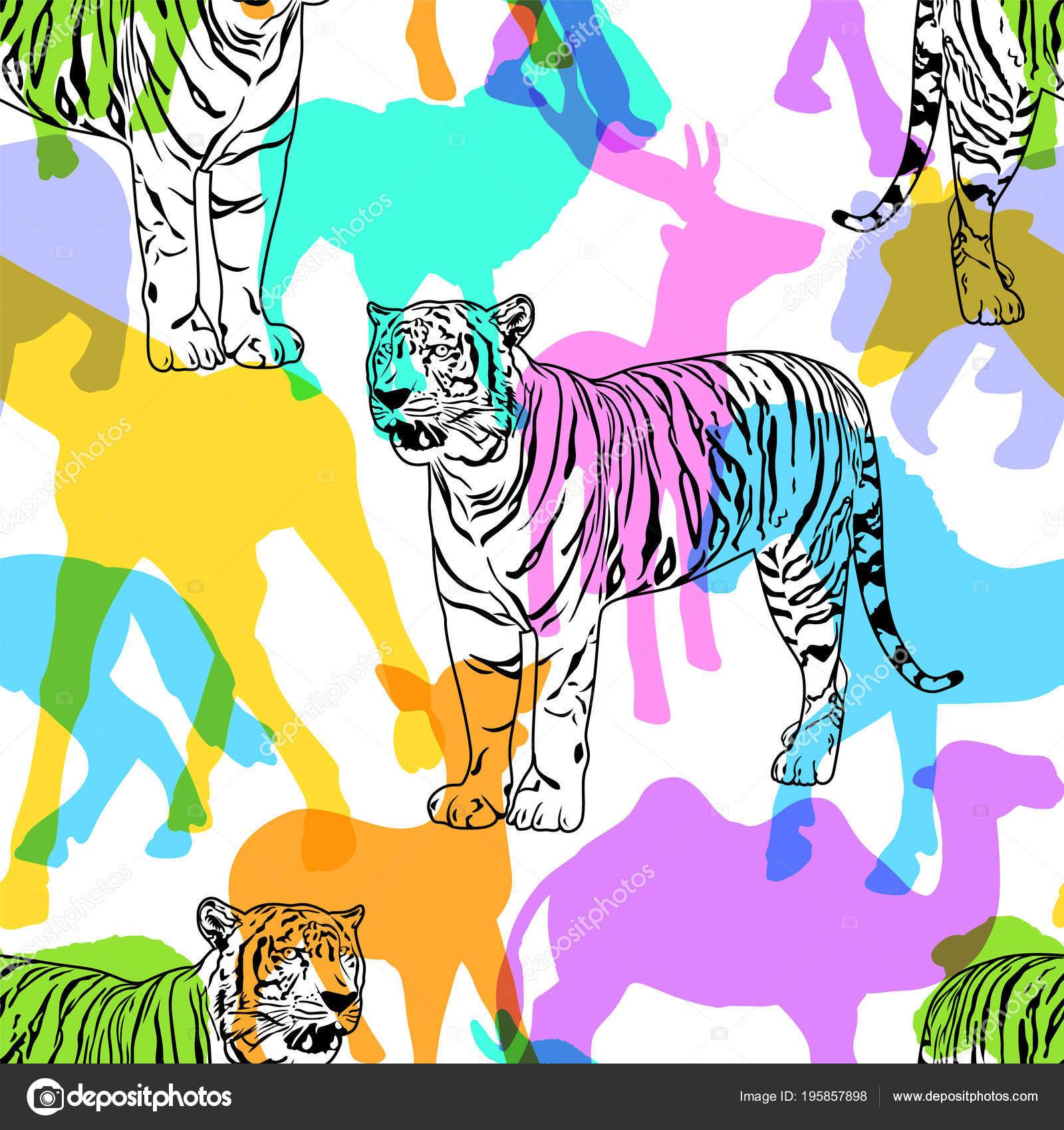 カラフルなシルエット野生動物 シームレスなパターンの白虎 野生動物