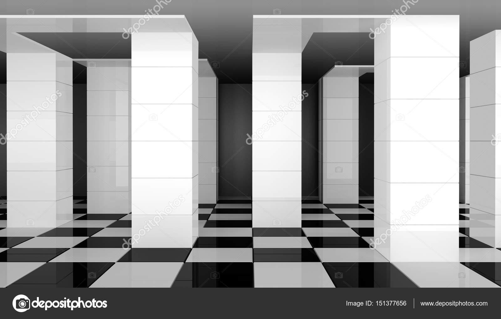 Weißen Säulen in einem konzeptionellen Interieur mit 3D-Effekt ...
