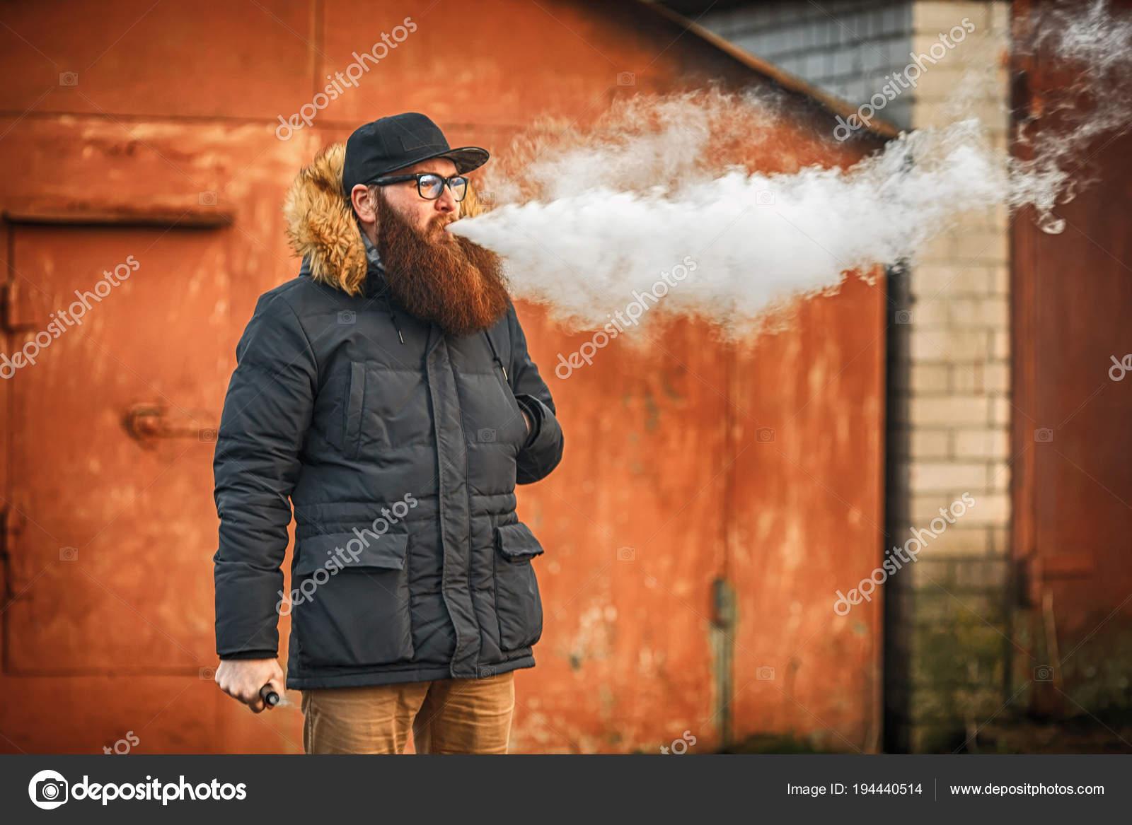 Vape Bearded Man Real Life Portrait Young Guy Large Beard — Stock