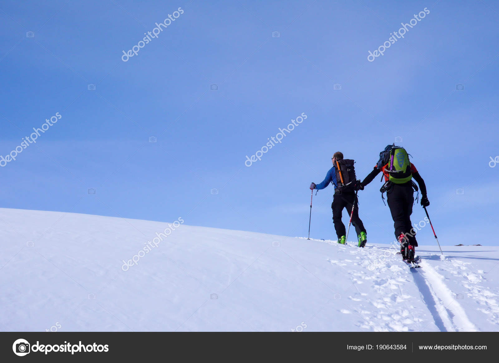 mountain guide backcountry ski tour leading client peak high alpine rh depositphotos com Alpine Touring Package Alpine Snowboarding