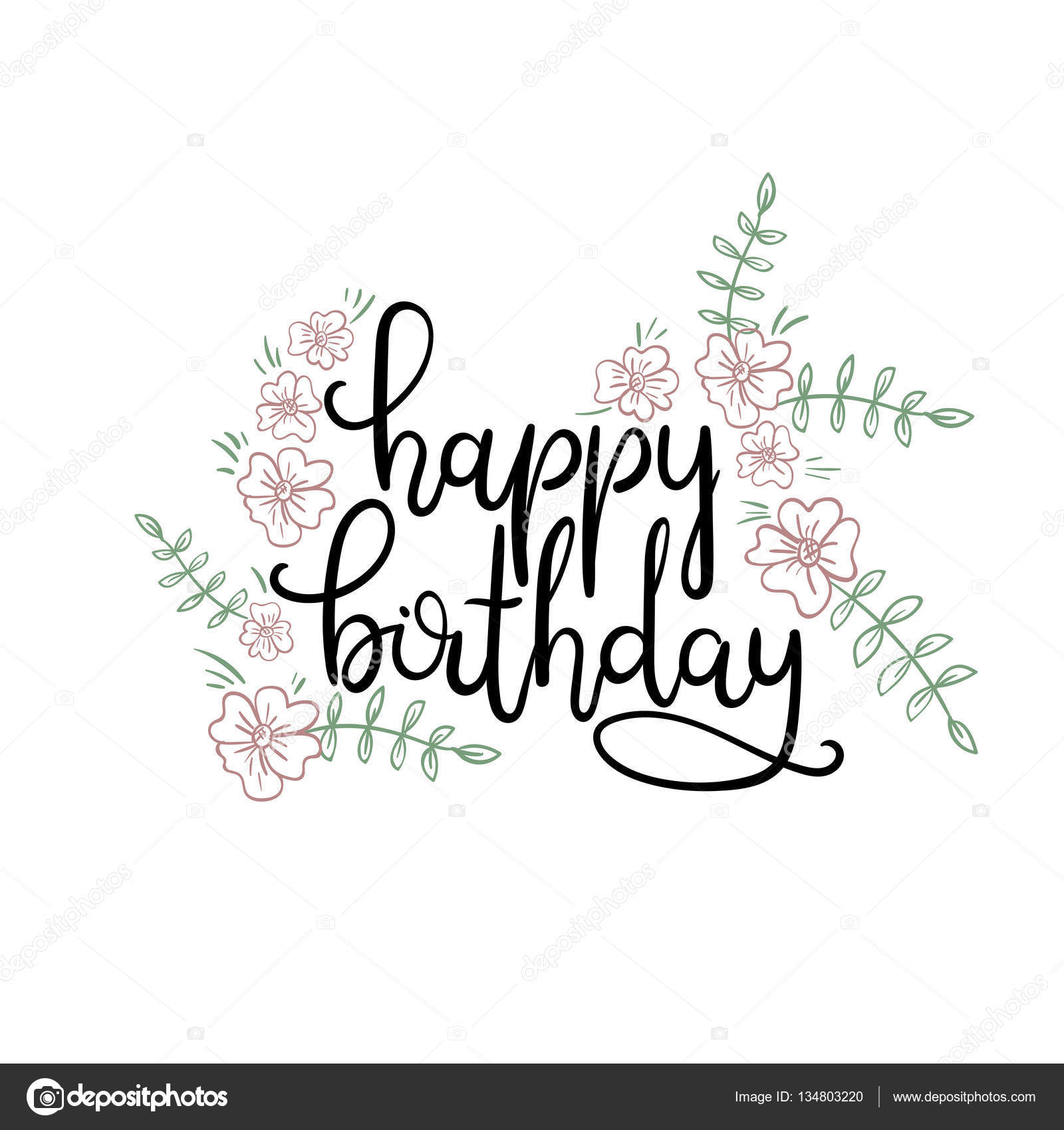 happy birthday hand lettering happy birthday lettering greeting card modern 11662 | depositphotos 134803220 stock illustration happy birthday hand lettering greeting