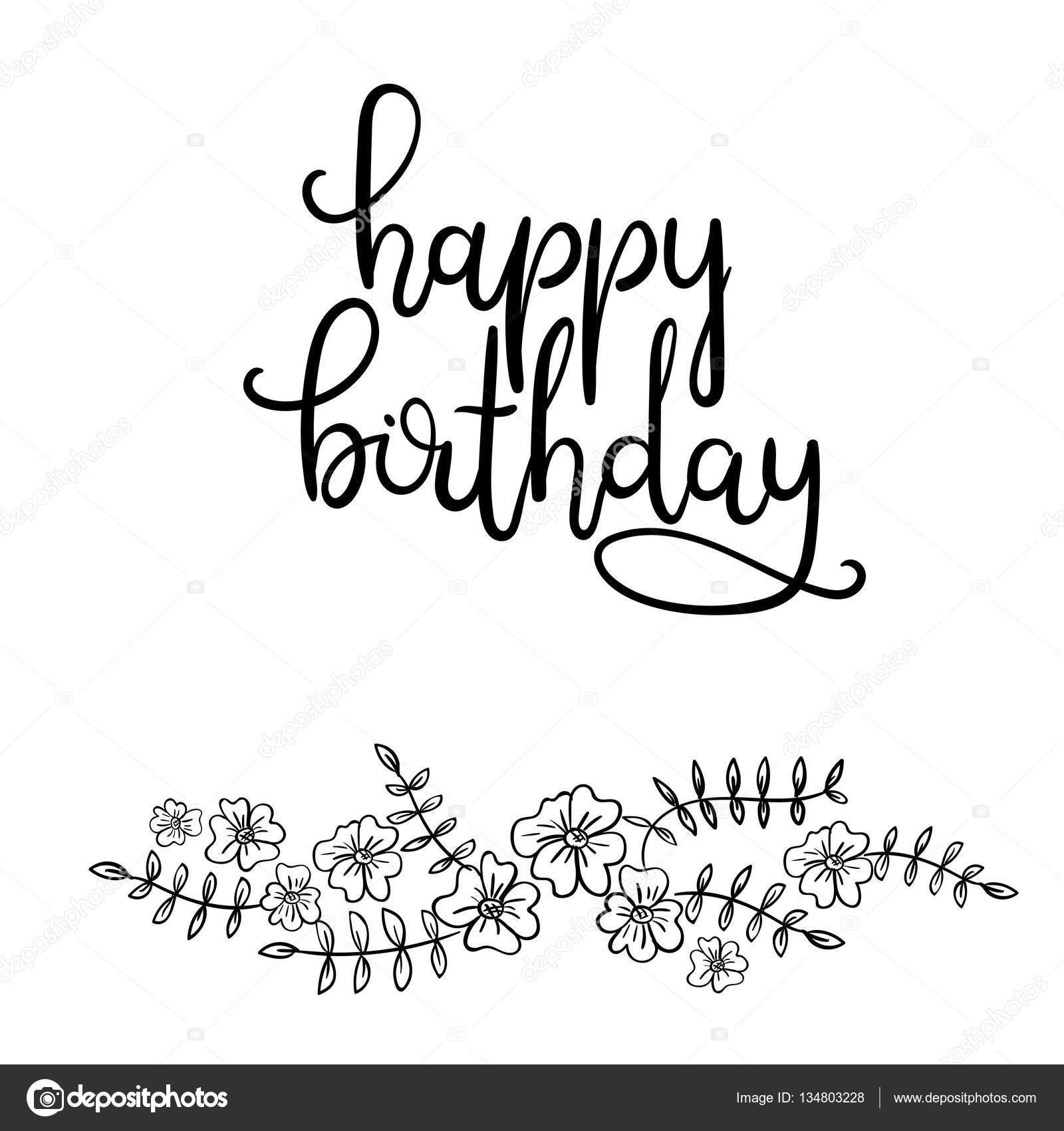 Joyeux Anniversaire Main Lettrage Calligraphie Moderne Carte De