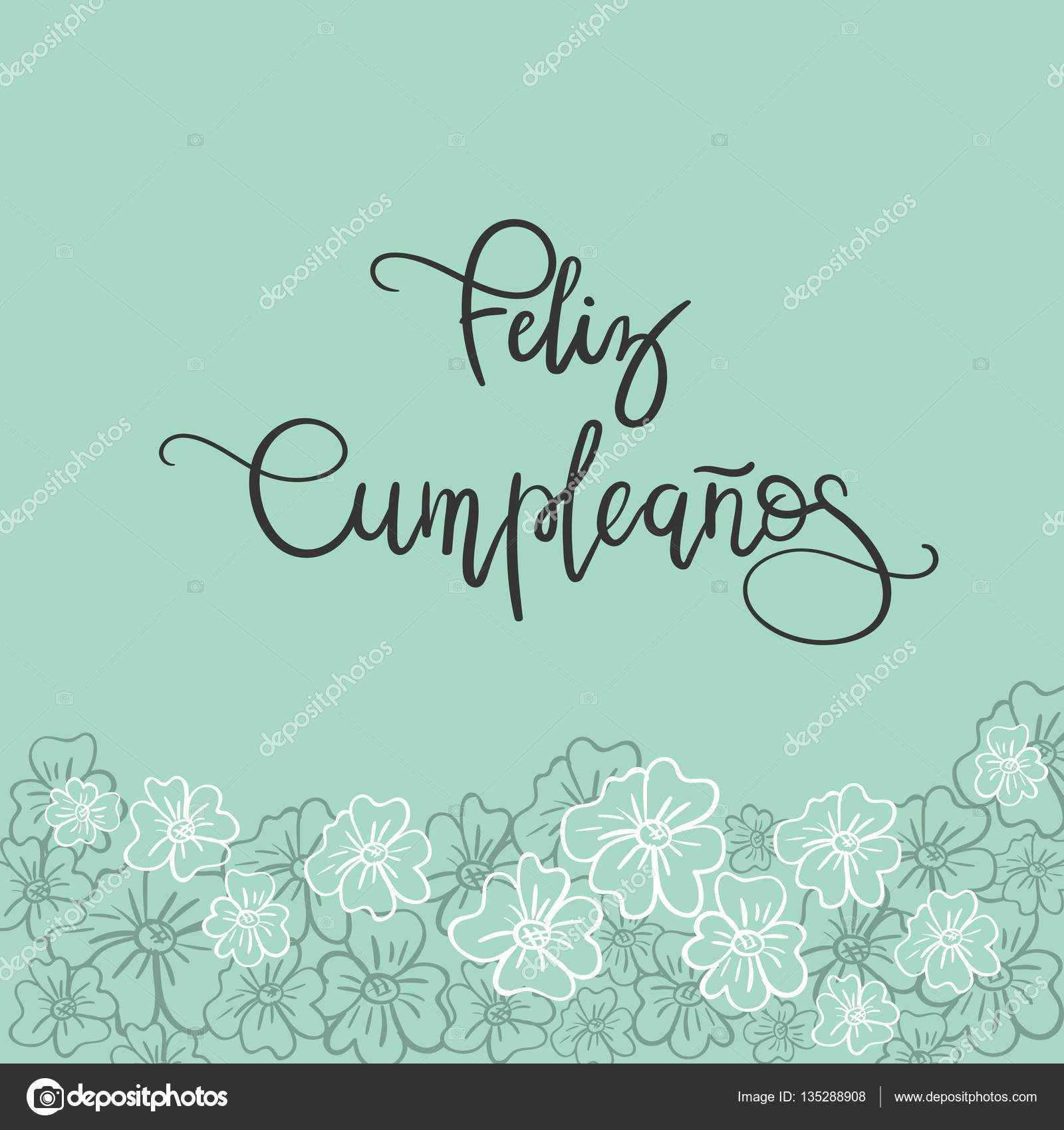 Feliz Cumpleanos Happy Birthday Spanish Text Greeting Card