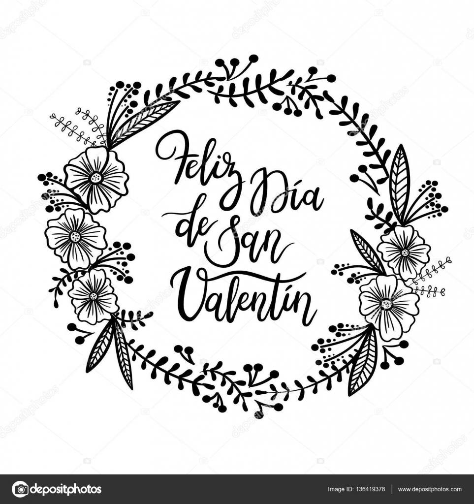 Spanish Phrase Happy Valentines Day Feliz San Valentin Hand