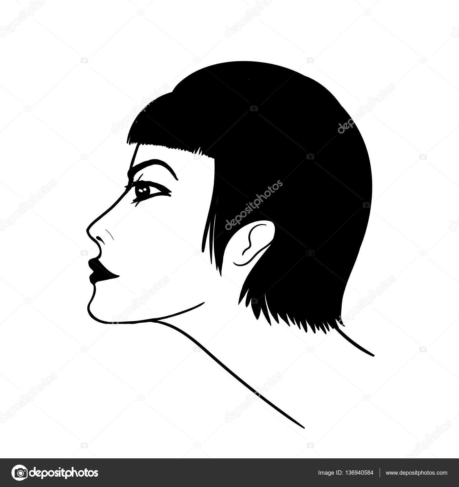 Dibujos perfiles de mujeres silueta de rostro de mujer en perfil dibujo de la mano aislada - Profil dessin ...