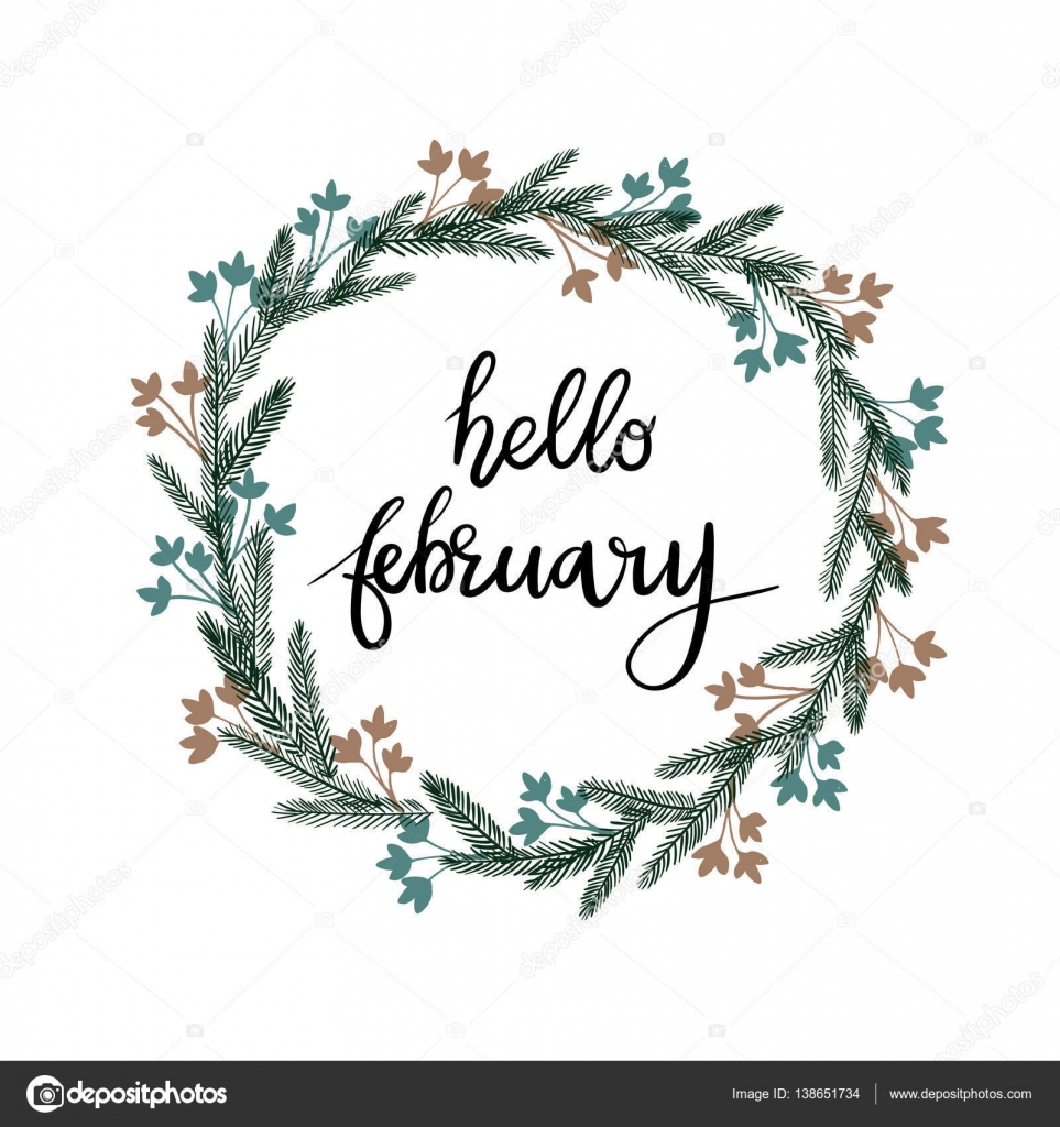 Hello February Hand Lettering Greeting Card  Modern