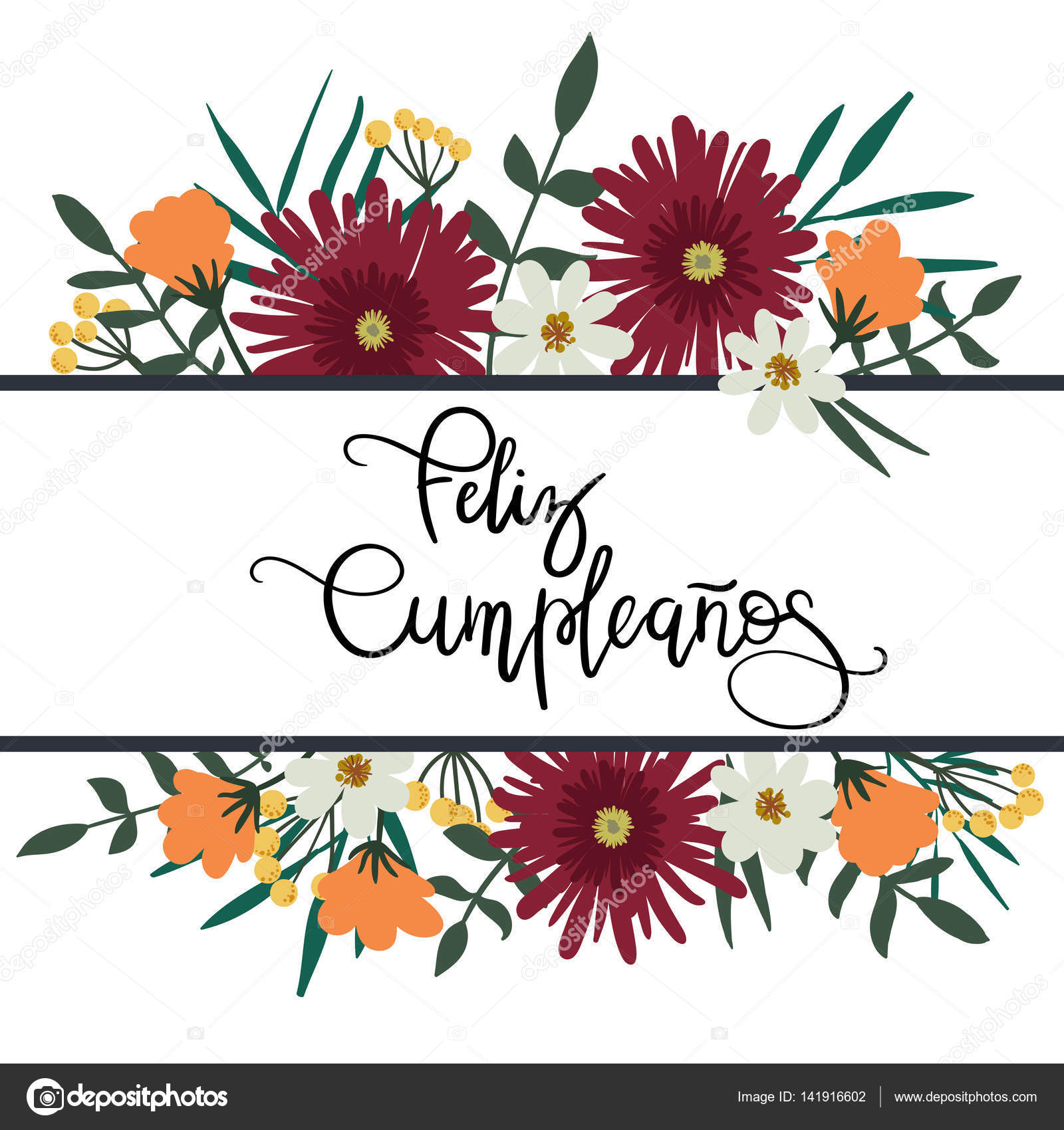 Happy Birthday In Spanish Hand Lettering Greeting Card With Floral