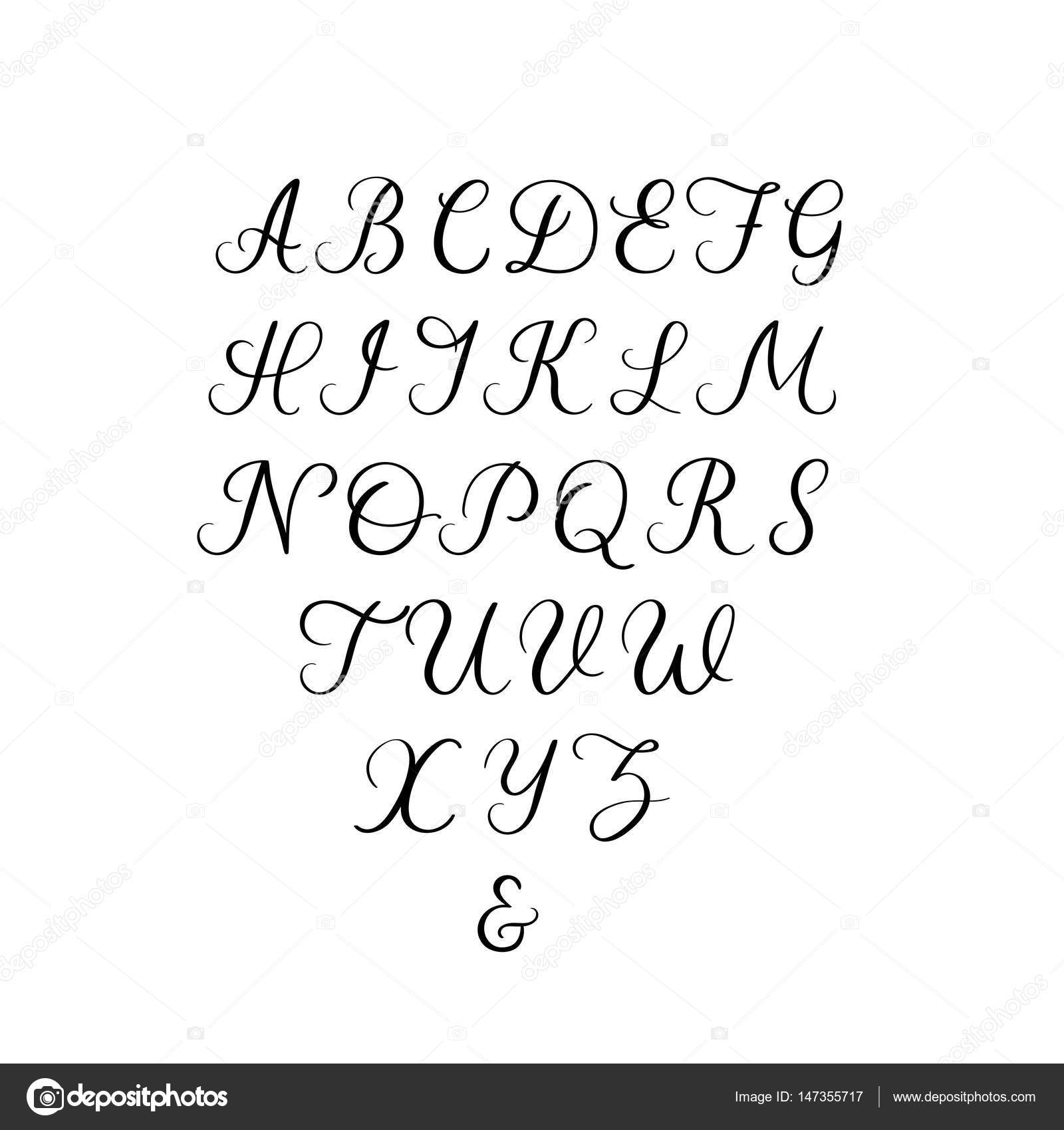 Handwritten font calligraphy alphabet hand lettering vector hand lettering font vector calligraphy alphabet uppercase letters for wedding decoration greeting card and other vector by anmark kristyandbryce Choice Image