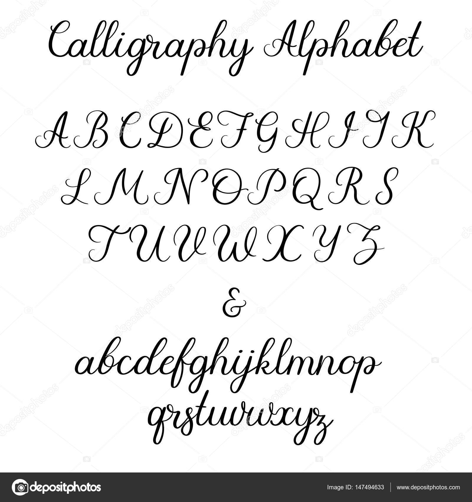 Calligraphic Vector Font Uppercase Lowercase Ampersand Wedding Brush Calligraphy Handwritten Script Alphabet By Anmark
