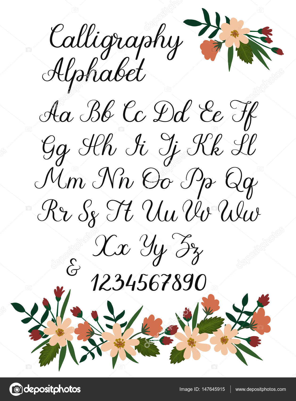 Handwritten Brush Font Uppercase Lowercase Vector Letters And Numbers Wedding Calligraphy By Anmark