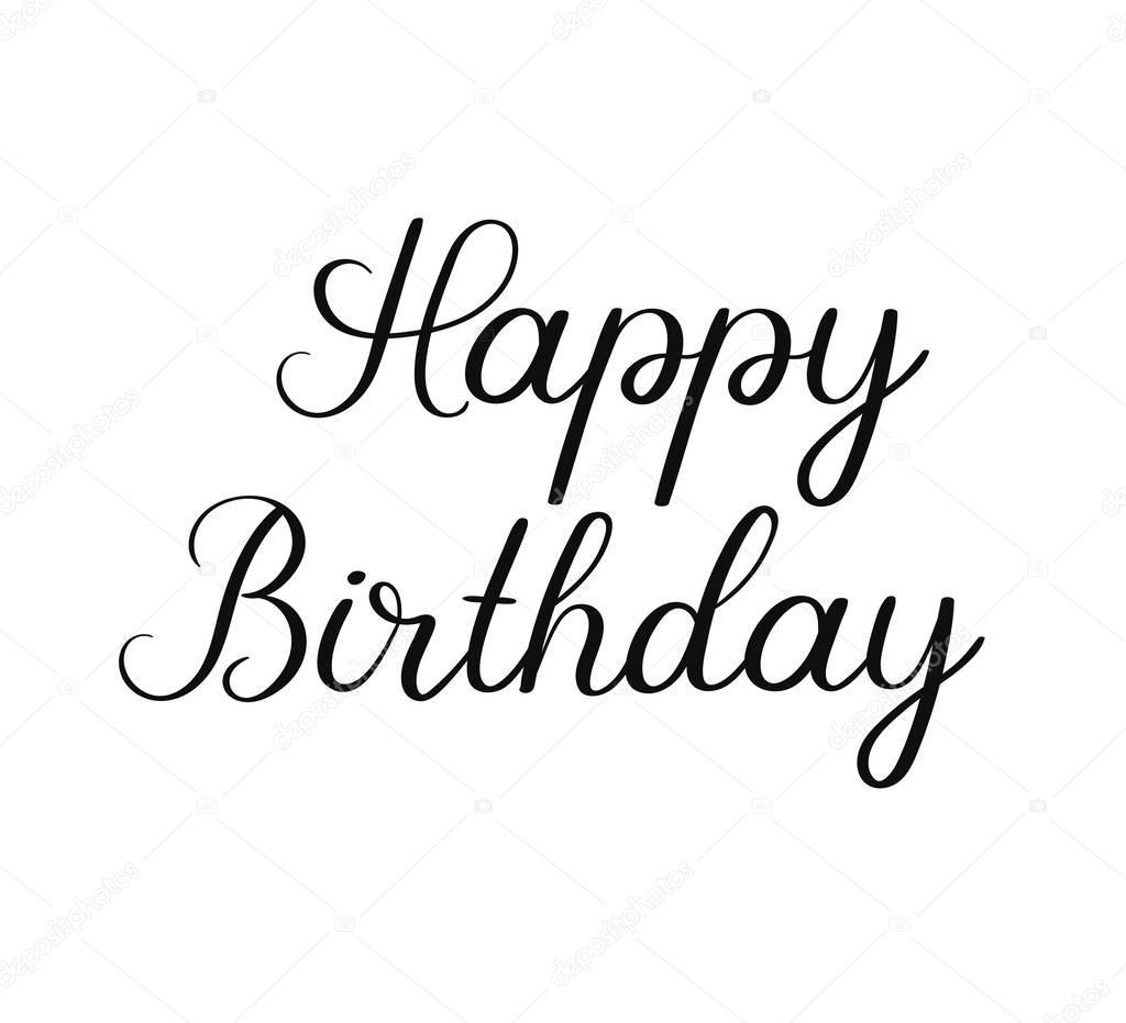 Happy Birthday Calligraphy Inscription On White Background
