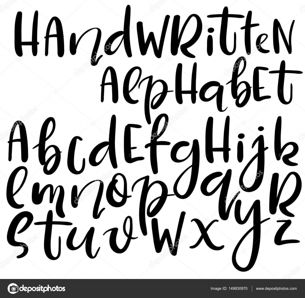 Vector Handwritten Alphabet Different Style Of Letters Doodle Abc Stock