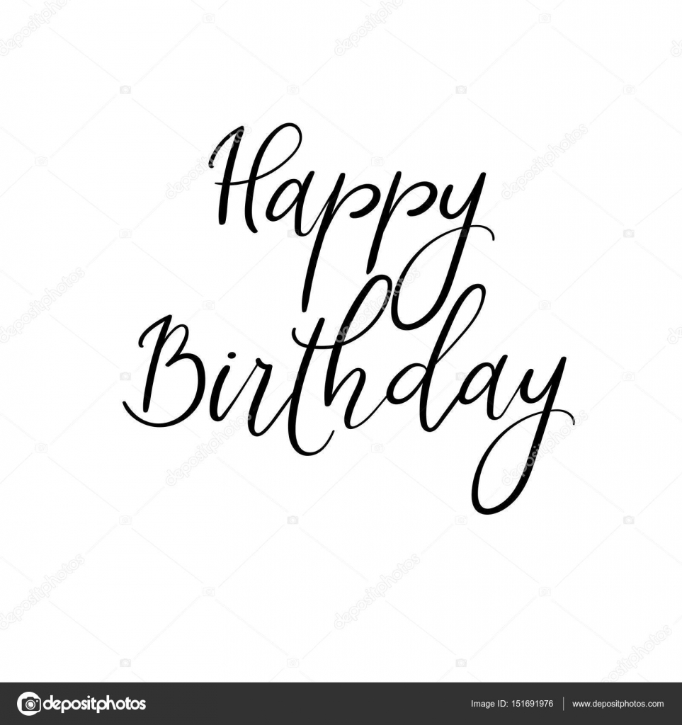 Happy Birthday Hand Lettering Modern Calligraphy Vector Isolated