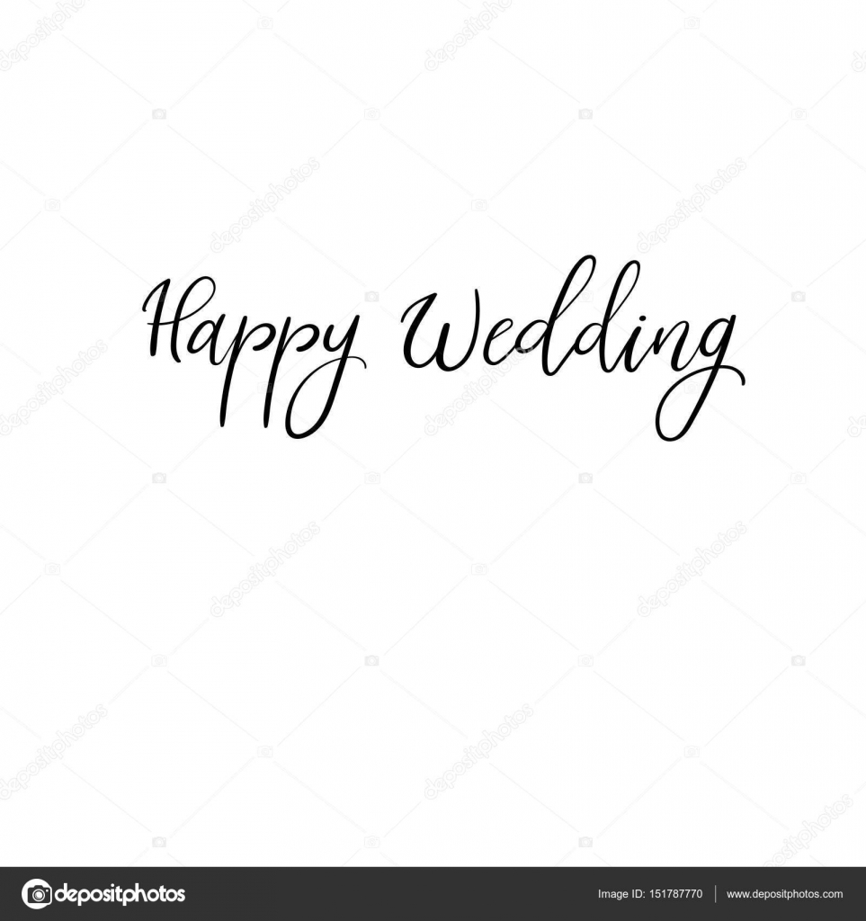 Happy wedding wedding typography templates vector handwritten happy wedding hand lettering greeting card modern calligraphy vector illustration wedding decor vector by anmark junglespirit Image collections