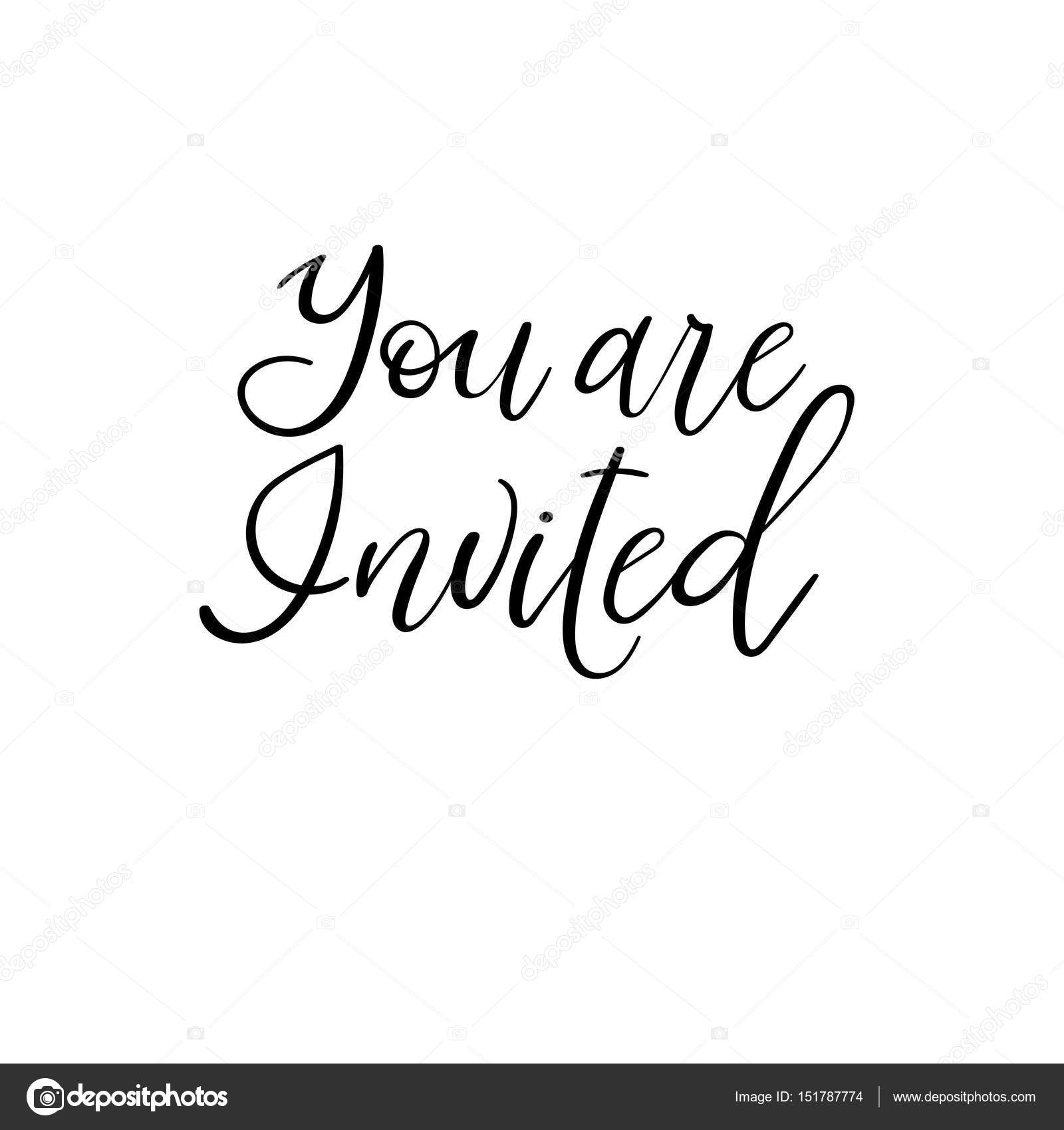 You Are Invited Vector Hand Lettering Greeting Card Modern