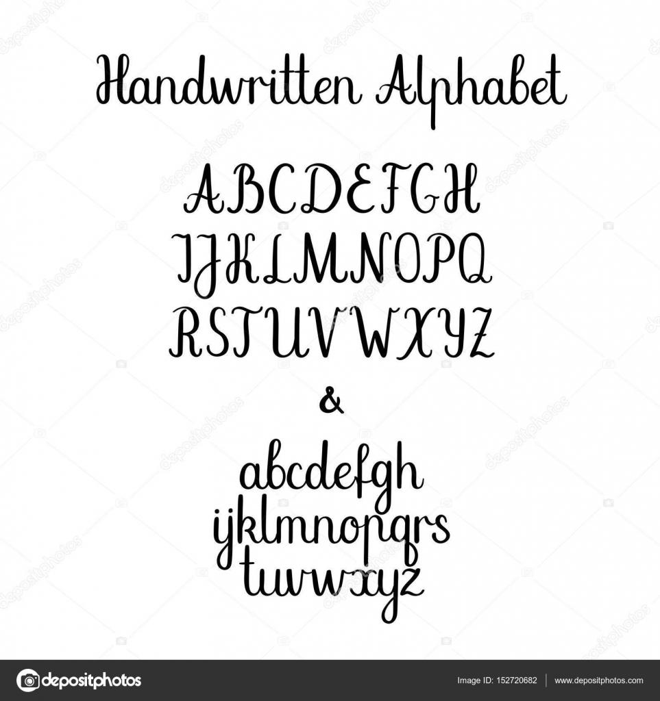 Hat Alfabe Küçük Harf Büyük Harf Vektör El Yazısı Harfler
