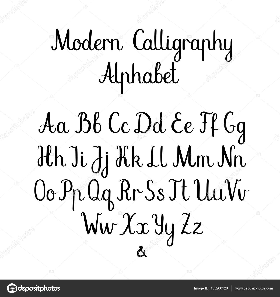 Modern Calligraphy Alphabet Template Handwritten Brush